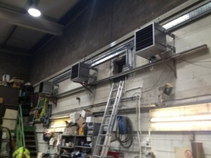 Three unit heaters powered by a LIme-Circle biomass boiler